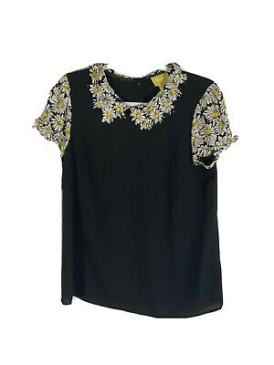 Anthropologie Maeve Fluttered Daisy Top Black Size Small
