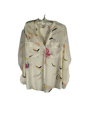 A New Day - Floral Long Sleeve Blouse - Women - XL - Ivory