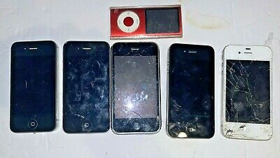 Old iPhone LOT 5 Total FOR PARTSREP - Old Product Red Nano - Read Description