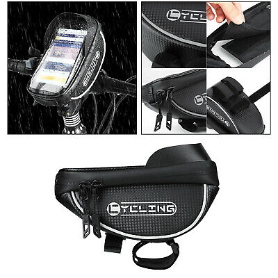 Waterproof Black Bike Phone Mount Bag Cycling Accessory with Reflective Tape
