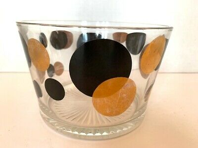 Russell Wright Bartlett Collins ECLIPSE Ice Bucket Black - Gold Circles MCM