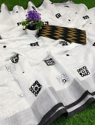Womens Traditional Cotton Linen Mirror Work Saree With Unstitched Blouse-