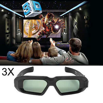 3x 3D Glasses Active Blue-tooth for DLP Epson Projector Home Theater Movie Game