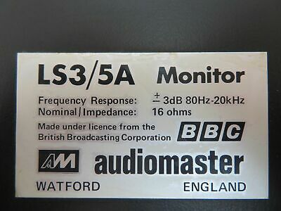 ROBIN MARSHALL BBC AUDIOMASTER LS3 5A MONITOR SPEAKERS