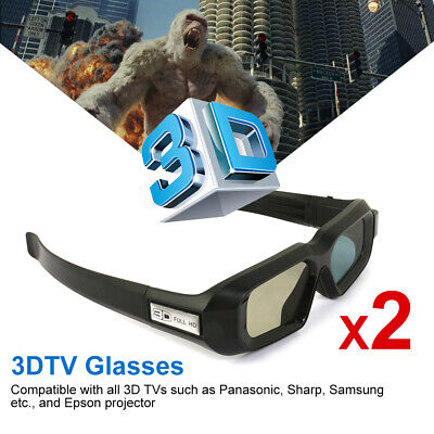 2pcs 3D Glasses Active Work for Epson Projector TW5210 Panasonic Samsung 3DTV