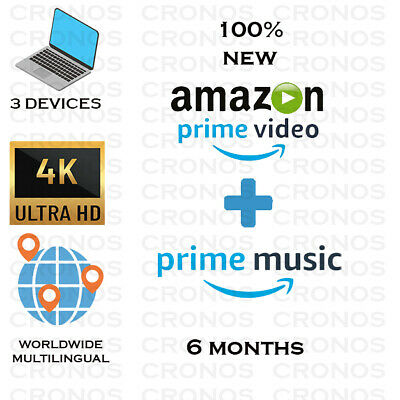 6 MONTHSAMAZON PRIME VIDEO - PRIME MUSIC WORLDWIDE  FAST DELIVERY
