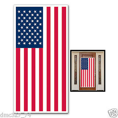4th of July PATRIOTIC Party Decoration Wall DOOR COVER American Flag 30 x 60