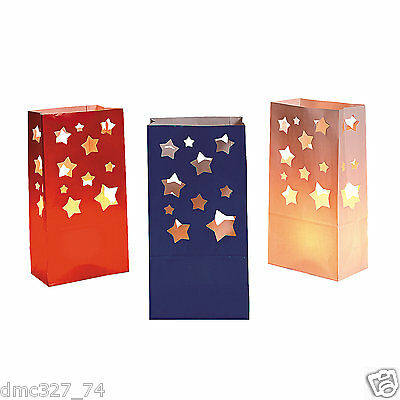 12 4th of July PATRIOTIC Party Decoration Pathway Walkway STAR LUMINARY BAGS