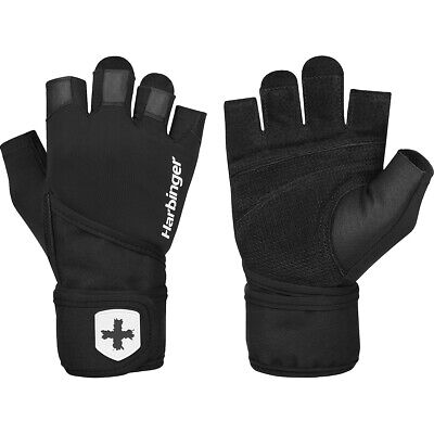 Harbinger 140 Ventilated Pro Wristwrap Weight Lifting Gloves - Black