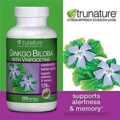 TruNature Ginkgo Biloba w Vinpocetine120mg 300 Softgels Brain Memory Support