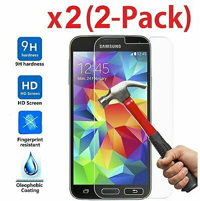 2-Pack Premium Real Tempered Glass Film Screen Protector for Samsung Galaxy S5