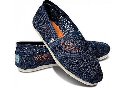 New Authentic Navy Crochet Toms Shoes