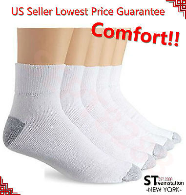 New 12 Pairs AnkleQuarter Crew Mens Socks Cotton Low Cut 10-13 White LOT USA