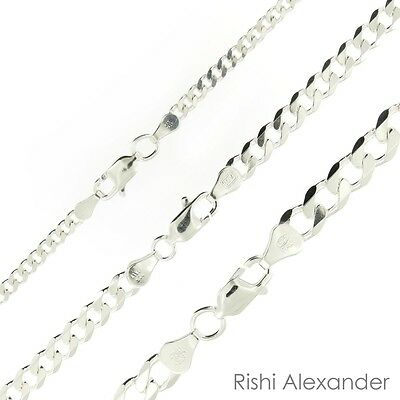 925 Sterling Silver Curb Cuban Mens Womens Chain Necklace -925 Italy All Sizes