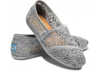 New Authentic Women Silver Morocco Crochet Toms Shoes