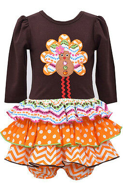 Bonnie Jean Baby Girls Turkey Thanksgiving Brown Multi Dress 0-3-6-9 Months