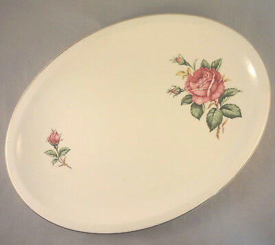 RED ROSE by PADEN CITY 11 12 OVAL SERVING PLATTER Roses - Buds on Cream