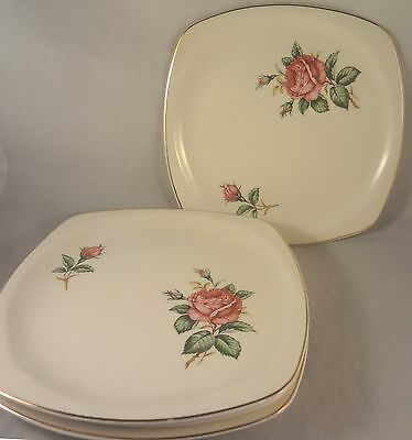 RED ROSE by PADEN CITY Square SALAD or DESSERT PLATES Set of 4 Roses - Buds