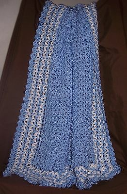 NeW BLUE Soft - PRETTY Hand Crochet Large Baby Blanket Afghan With White