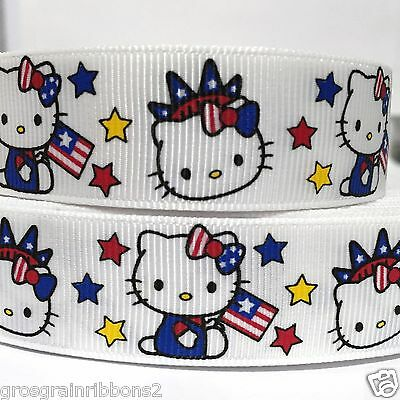 Grosgrain Ribbon 78  Hello Kitty 4th of July Printed for Hairbows USA SELLER