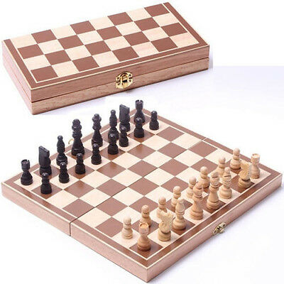 New 3030cm Standard Game Vintage Wooden Chess Set Foldable Board Great Gift