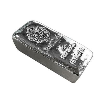 10 oz .999 Silver Bar by Scottsdale Mint Loaf Pour Chunky #A396