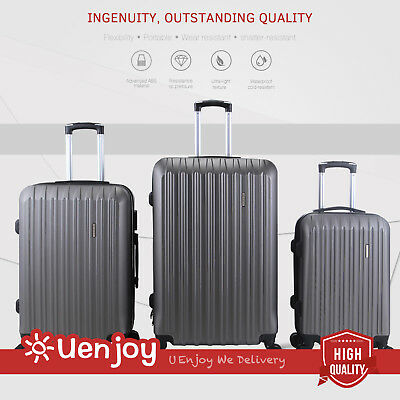 3Pcs Luggage Travel Set Trolley Suitcase wTSA Lock - ABS Spinners Grey