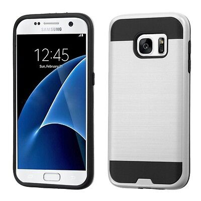 SilverBlack Brushed Hybrid Phone Protector Cover Case for Samsung Galaxy S7
