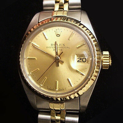 Rolex Date Ladies 2Tone 14K Yellow Gold Stainless Steel Watch w Champagne Dial