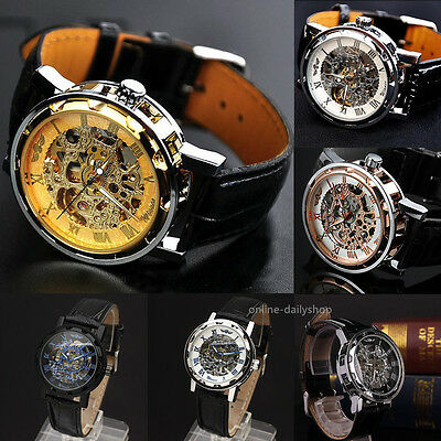 Mens Skeleton Mechanical Wrist Watch Steampunk Luxury Black Leather Stainless