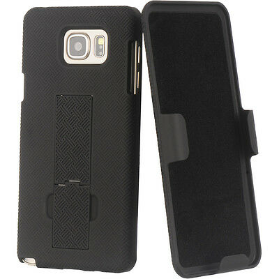 Samsung Galaxy Note 5 - HARD HOLSTER KICKSTAND CASE COVER with BELT CLIP BLACK