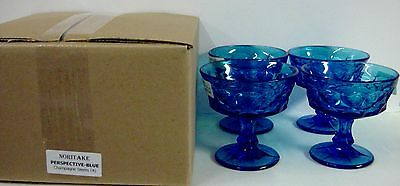 Noritake Crystal PERSPECTIVE BLUE Champagne Stems SET4 More Avail MINT IN BOX