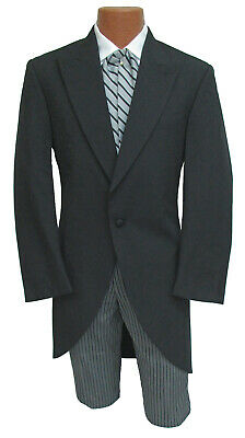 Mens Black Morning Coat Cutaway with Optional Hickory Striped Pants