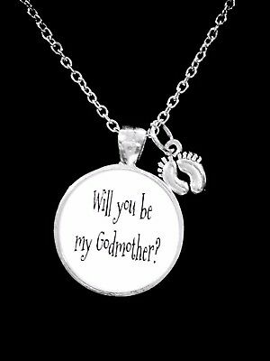 Godmother Necklace Will You Be My Godmother Baby Feet Mothers Day Gift Jewelry
