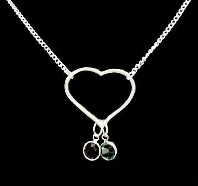 Birthstone Heart Mother Grandmother Wife Mom Mothers Day Gift Necklace