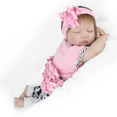 22 Handmade Reborn Baby Toy Newborn Lifelike Silicone Vinyl Sleeping Girl Dolls