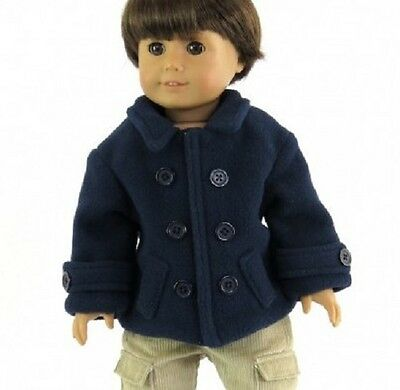Lovvbugg Navy Pea Coat for 18 American Girl or Boy Doll Clothes Wow Selection