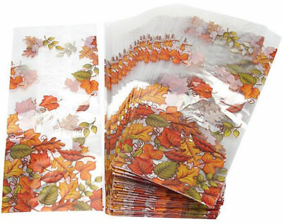 25 Thanksgiving Fall Autumn Leaves Party Treat Loot Cello Candy Goody Bags 3x7