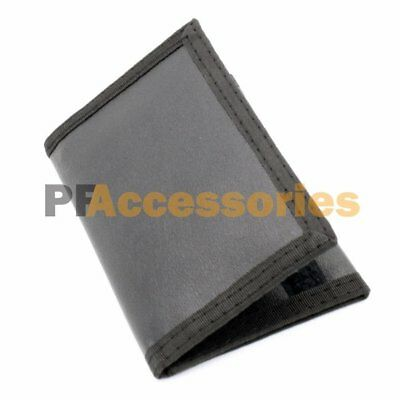 Mens Credit Card Trifold Nylon Wallet Black w Touch Fasteners Closure