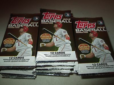 2012 Topps Series 2 Baseball Lot of 36 SEALED 12-Card Packs