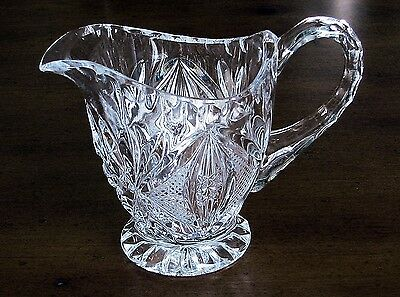 EAPG FOOTED  SHELL CRYSTAL ETCHED GLASS CREAMER 3-5