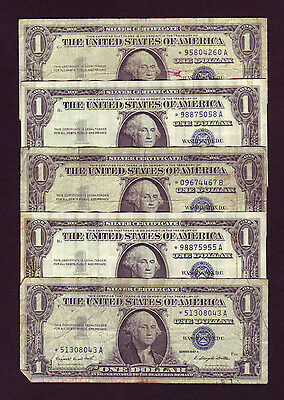 1957 Silver Certificate 1 Star Note Blue Seal Dollar Bills - Lot Of 5 P799