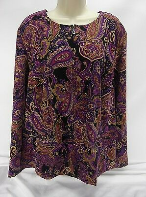 Notations Plus Size 2X Red White Floral Paisley Top Blouse Zip-Up Blouse