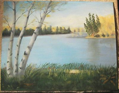 Landscape Oil Painting- Beautiful Lake Original 16x20 Ready to  NICE