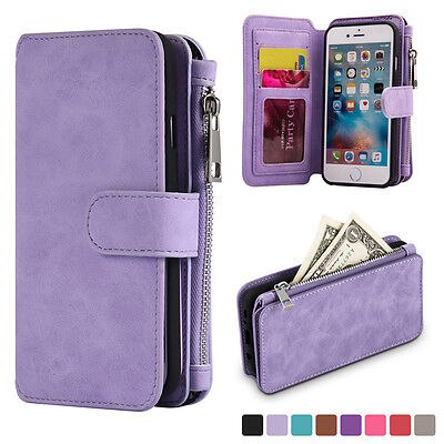 Lavender Genuine Leather Flip Wallet Phone Case Cover for iPhone 6 6s Plus 5-5
