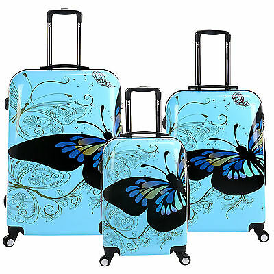 20 24 28 Blue 3 Pcs Set 4 Wheels Spinner Suitcase Butterfly PC Travel Luggage