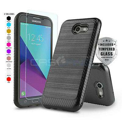 MODERN ARMOR COVER PHONE CASE FOR SAMSUNG GALAXY J3 ECLIPSE -TEMPERED GLASS