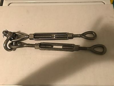 Stainless 58 X 17 turnbuckles Lot of 2 with shackle-