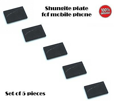 Set of 5 Shungite Mobile cell phone sticker 15x21mm EMF protection UNPOLISHED