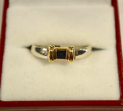 Tiffany - Co Sterling SIlver and 18K Yellow Gold Sapphire Ring